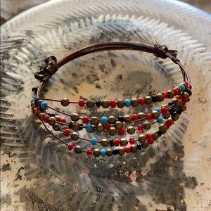 Copper wire beaded bracelet